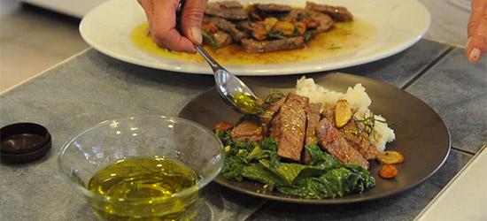 Garlic-Rosemary Steak With Mashed Potatoes and Mustard Greens – $10 ...