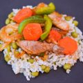 Stir-Fry Pork with Orange-Glazed Onions & Carrots (With Brown Rice & Peas) – $10 or Less Meal