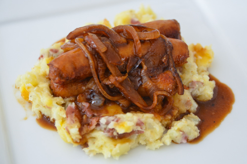 bangers and mash otherwise knows as sausage and mashed potatoes can ...